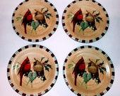 Set of 4 Lenox WINTER GREETINGS EVERYDAY quot Cardinal quot Salad Dessert Plates