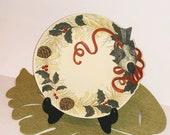 Lenox WINTER GREETINGS Bisque Sculpted Textured Chickadee Bird Display Plate