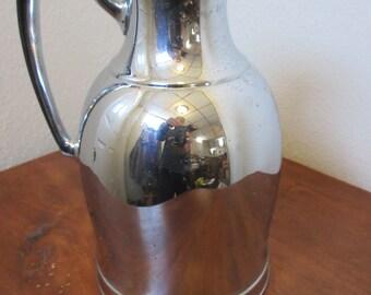 Vtg. Mid Century Modern Glass Thermal Carafe Decanter LANDERS FRARY CLARK  Universal,Chrome
