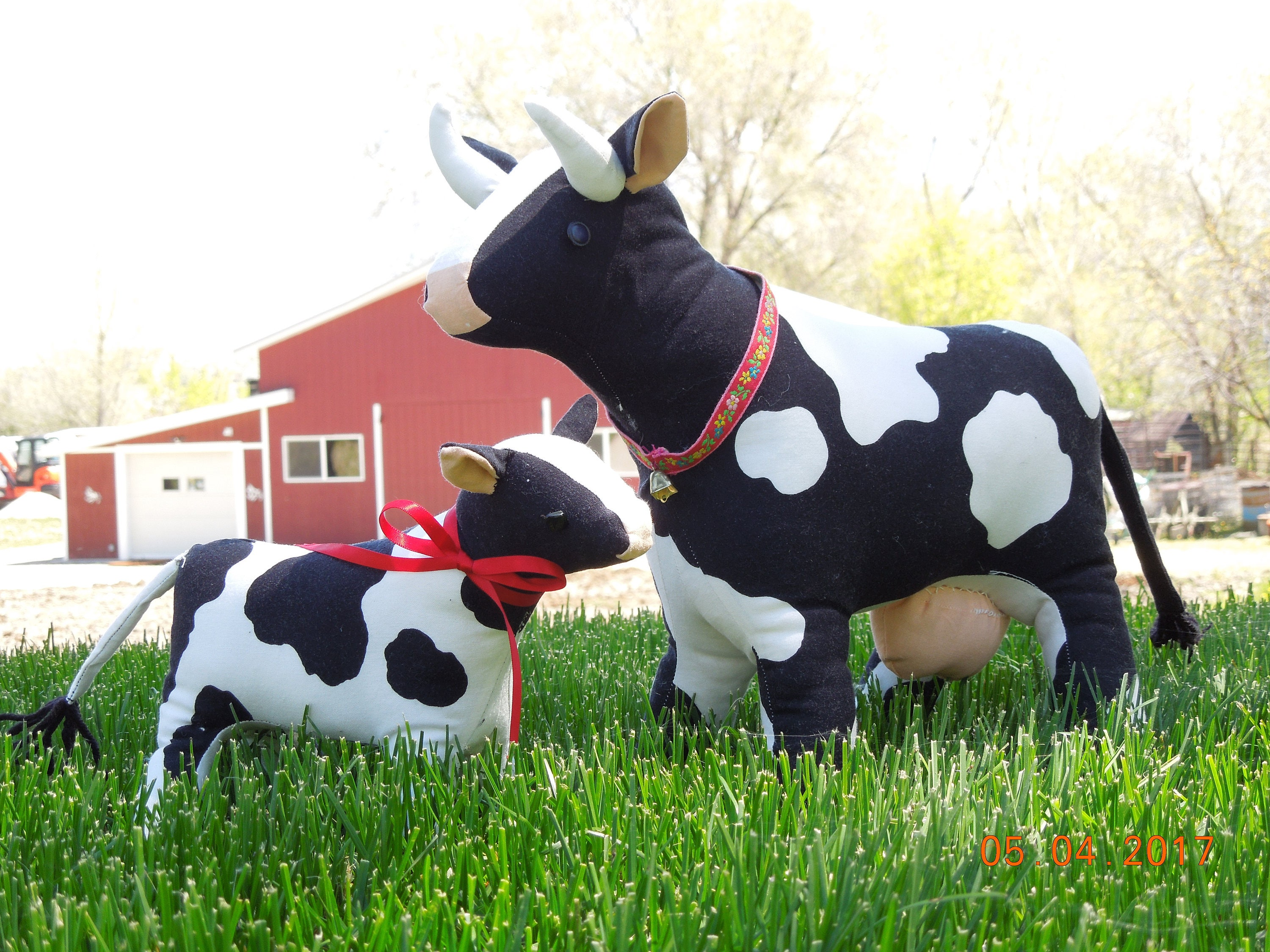 """Holstein Cow, wooden painted decor figure 18"""" 