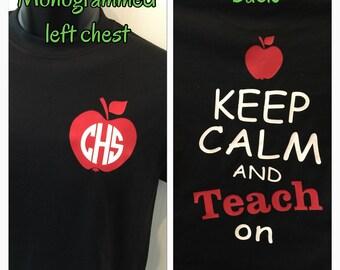 Monogram Teacher shirt keep calm and teach on shirt teacher gift new personalized for you