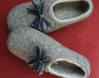 96d231aa56385 Items similar to Natural wool step in slippers for women felted from ...