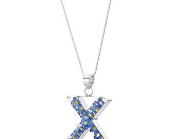 X initial Forget- Me- Not Pendant Real Flower Necklace 18 inch chain - Hand Made in UK