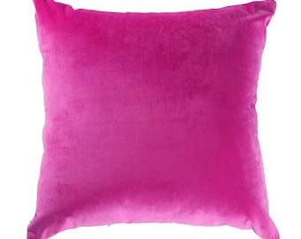 Velvet Solid Colour  Soft Cushion Cover-Pillowcase with Zipper  18 x 18 Inch in Wine Red- Red- Rose Pink- Teal- Blue- Grey -Green-Brown-