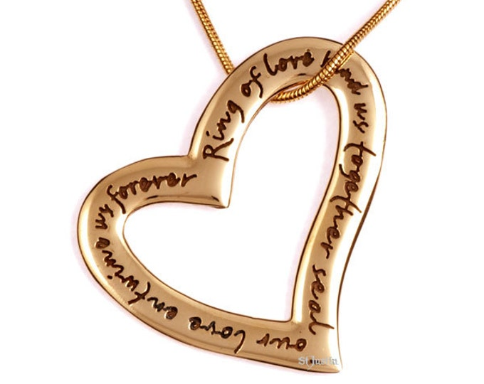 English Heart Love Pendant Bronze- Hand Made in UK