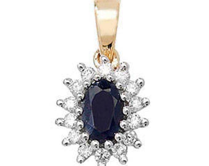 9ct Genuine Sapphire Diamond September Birthstone Oval Pendant 6X4