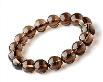 "Smoky Quartz Bracelet Natural Gemstone 7""- 7.5"" Stretch Bracelet Available in 8 & 10 mm Round Beads-"