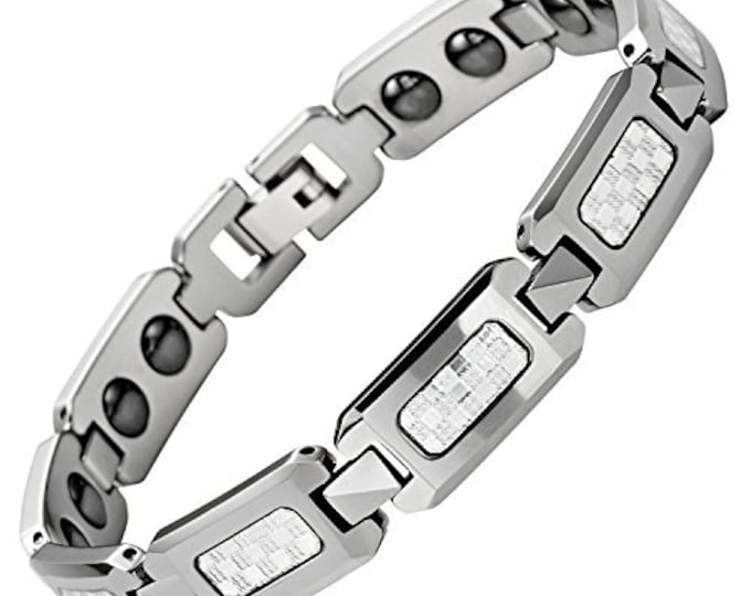 9 inch Magnetic White Carbon Fibre Tungsten Carbide Men Unisex Bracelet