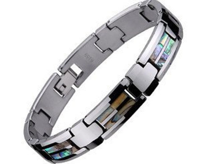 9 inch Bracelet Tungsten Carbide Abalone Shell inlaid Link  Men Unisex- Ideal Gifts for Dad- Father Day- Birthday- Christmas- Anniversary.