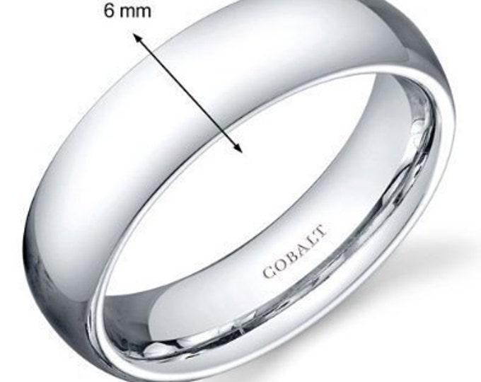6 mm Cobalt Chrome Domed Shape Polished Ring Wedding Band - Comfort fit