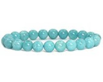 "Amazonite Blue Bracelet Natural Gemstone 7""- 7.5"" Stretch Bracelet Available in 8 & 10 mm Round Beads-Unisex"