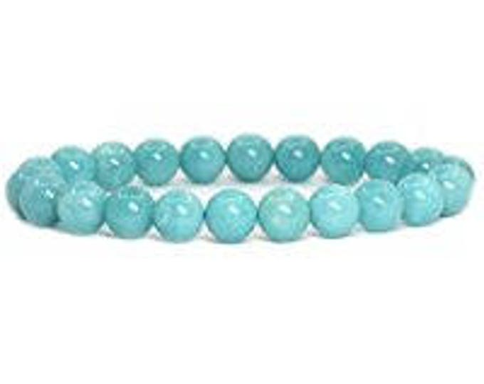 "Amazonite Blue Bracelet Natural Gemstone 7""- 7.5"" Stretch Bracelet Available in 8 & 10 mm Round Beads-Unisex"