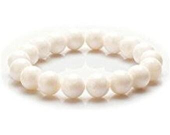 "10mm Unisex White Clam Bracelet  Gemstone 7""- 7.5"" Stretch Bracelet Round Beads-Ideal Gift For Him Her"