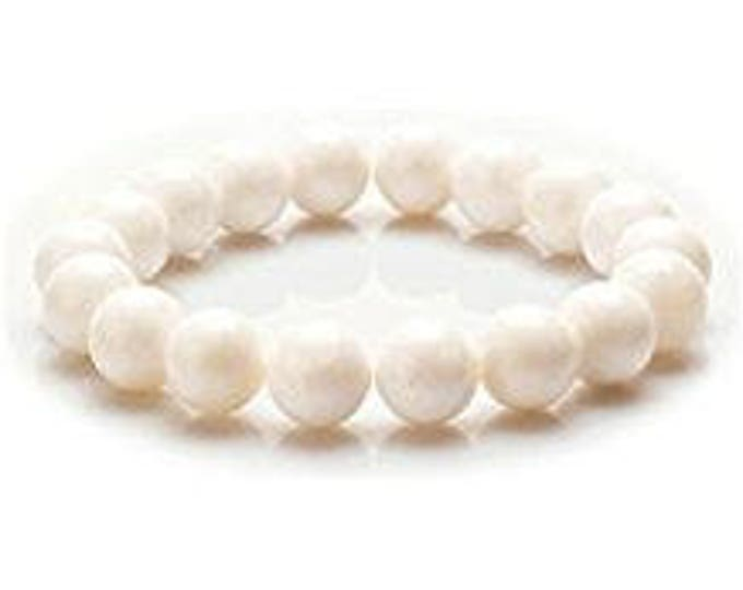 "10mm Unisex White Clam Bracelet  Gemstone 7""- 7.5"" Stretch Bracelet Round Beads-Ideal Gift For Him Her"