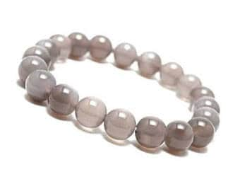 "Grey Agate Bracelet Natural Gemstone 7""- 7.5"" Stretch Bracelet Available in 8 & 10 mm Round Beads-Unisex"