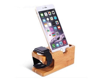 Bamboo Wood 2 in 1  iPhone & Watch Dock -Charger Holder  Ideal Gift for Birthday- Christmas- Father Day -Mother day