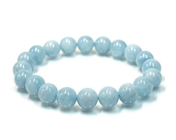 "Aquamarine March Birthstone Natural Gemstone Stretch Bracelet 7""- 7.5"" Available in 8 & 10 mm Round Beads-Pale Blue (Unisex)"