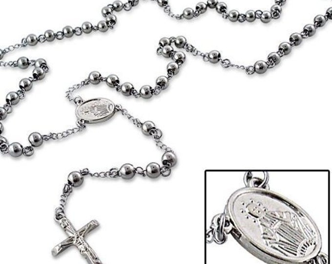 Rosary Bead Silver Colour Stainless Steel HIGH QUALITY Rosary Bead Crucifix Cross Necklace Chain  31.5 inch