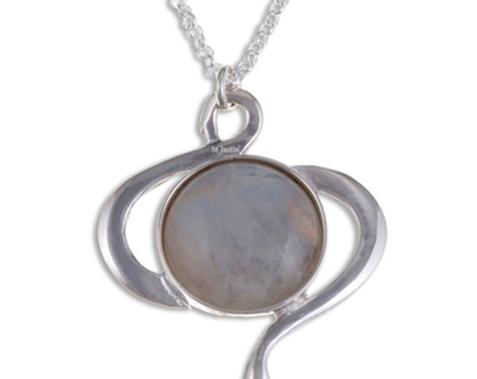 Moonstone swirl pendant – A stylish swirl design in sterling silver with a moonstone centre- Hand Made in UK