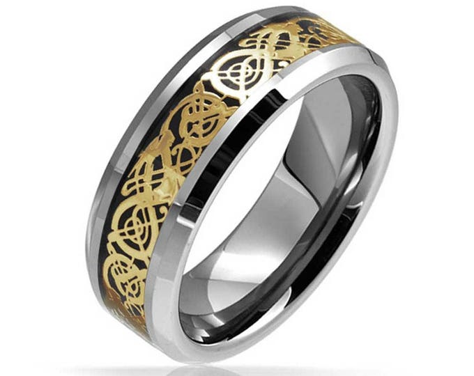 CLEARANCE SALE 8 mm Gold Black Celtic Flat Shape Tungsten Ring Wedding Band - Comfort fit
