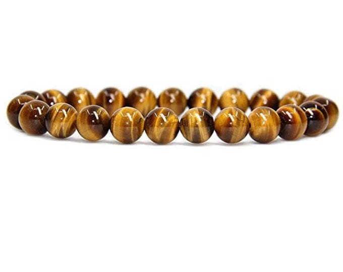 "Tiger 's Eye Golden Gemstone Stretch Bracelet 7""- 7.5"" Available in 8 & 10 mm Round Beads-Golden Brown (Unisex)"