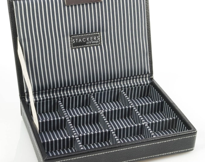 LC Designs Cufflink Box, Black or Brown Storage Gift Box- Ideal Gift For Dad -Mom His- Her- or Just for you