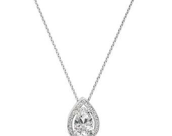 Silver Cubic Zirconia Teardrop Pendant Necklace
