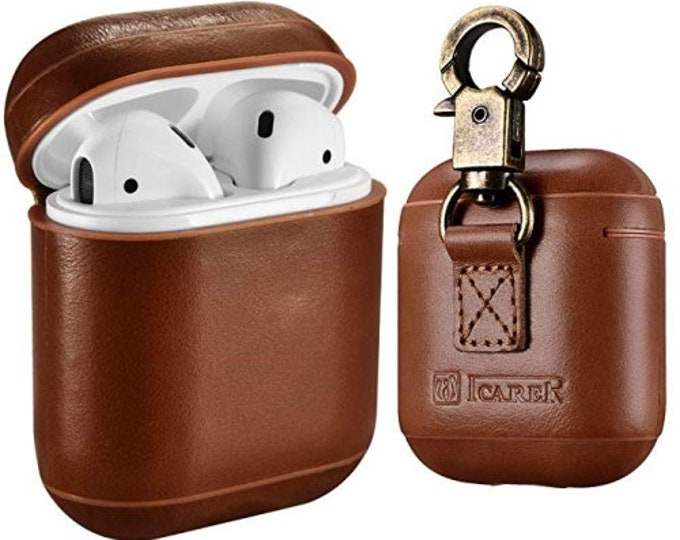 ICarer AirPods Leather Case with Strap,Protective Shockproof Cover for Apple AirPods 1  & 2 Case Wirless Charging Case