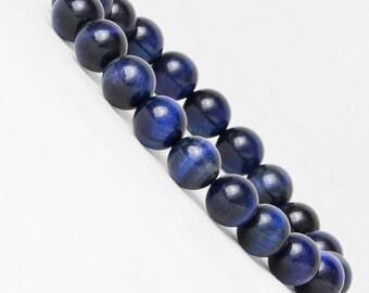 "Gemstone Tiger 's Eye Stretch Bracelet 7""- 7.5""Available in  Blue-Pink- Green -Golden Brown-in 8 & 10 mm Round Beads Men Women (Unisex)"