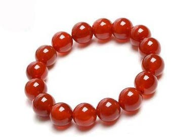 "Red Agate Bracelet Natural Gemstone 7""- 7.5"" Stretch Bracelet Available in 8 & 10 mm Round Beads-Unisex"