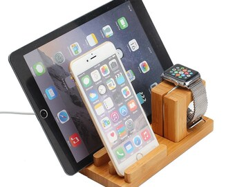 Bamboo Wood 3 in 1 iPhone & Watch Dock -Charger Holder - Display Stand- Ideal Gift for Birthday- Christmas- Father Day -Mother day