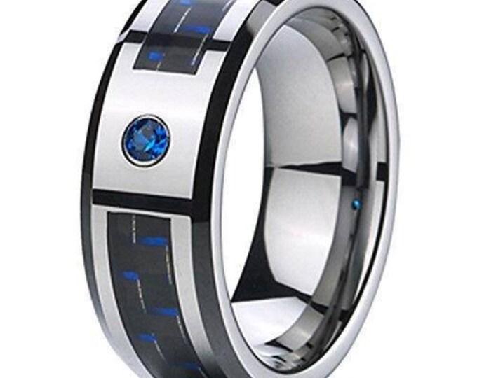 8 mm  Blue Cubic Zirconia (CZ) Black & Blue  Carbon Fiber Tungsten Carbide Men's /Women's Ring Band Sizes 6-15 - Comfort fit