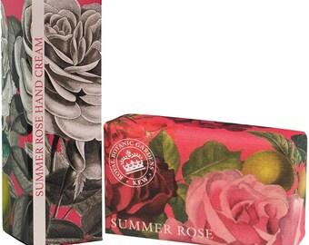 English Summer Rose Luxury Royal Botanical  Kew Gardens Set -Soap & Hand Cream-Gift For Him or Her