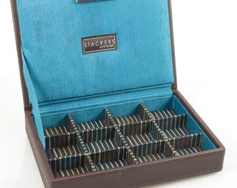 Cufflink Box, Black or Brown Storage Gift Box- Ideal Gift For Dad -Mom His- Her- orJust for you
