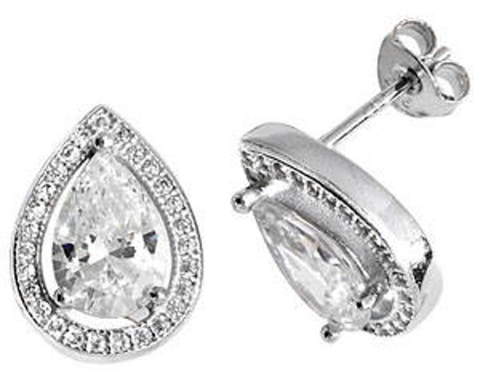 Real Silver Tear Drop CZ  Stud Earring - Ideal Gift or for any occasion