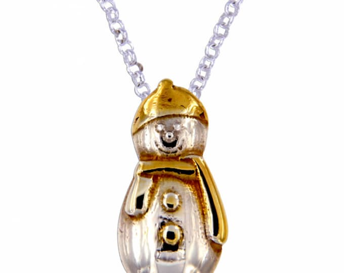 Silver Snowman pendant – A cute Sterling silver snowman- Made in UK