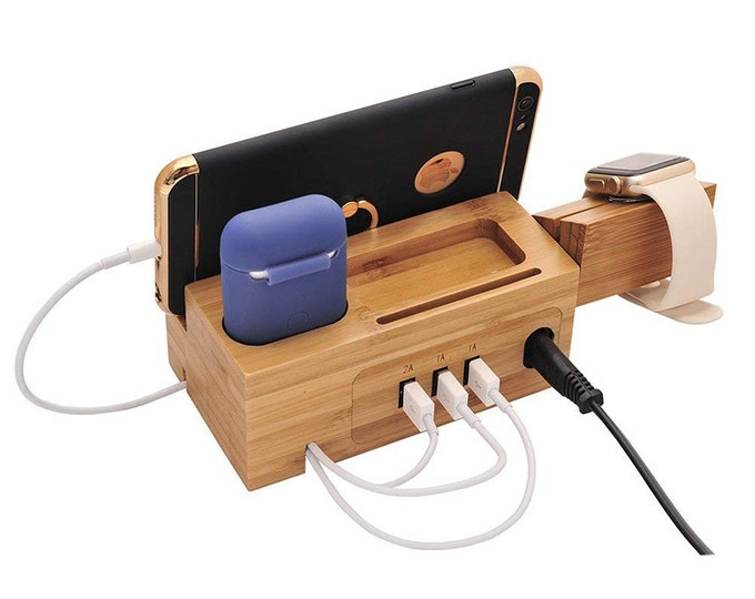 Bamboo Wood Multi-Function -For Phone -Airpods -Watch -USB Charging Port -Holder - Display Stand- Ideal Gift for Birthday-Dad-Mom- Christmas