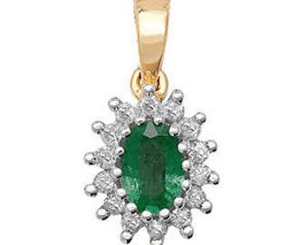 Emerald Diamond May Birthstone Oval Pendant 6X4