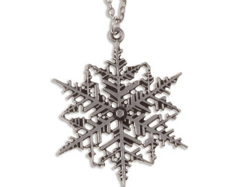 Snowflake Necklace Pendant intricate cut out pewter snowflake pendant- Handmade and Design in UK