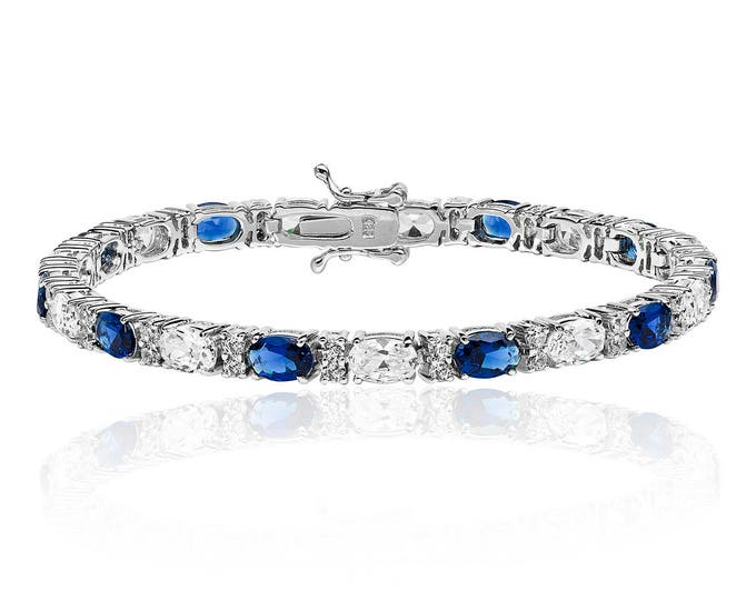 Sapphire Bracelet 925 Silver CZ Claw Set Rhodium Plated Ideal Gift: For Her - Mum -Birthday
