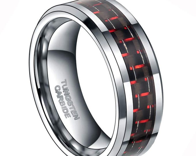 Engrave Personalised 8 mm  Red & Black Carbon Fiber Tungsten Carbide Men's /Women's Ring Band Sizes 6-15 -8mm - Comfort fit