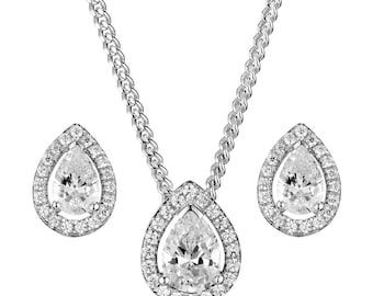 Silver Set CZ Teardrop Pendant Necklace  Earring Cubic Ziconia Set