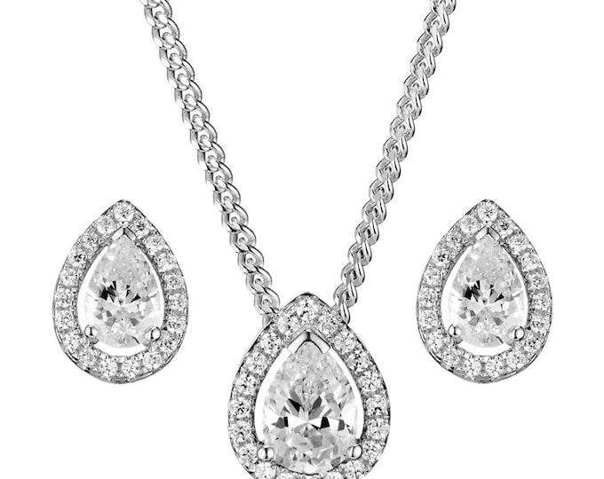 Silver Set CZ Teardrop Pendant Necklace  Earring Cubic Ziconia Set