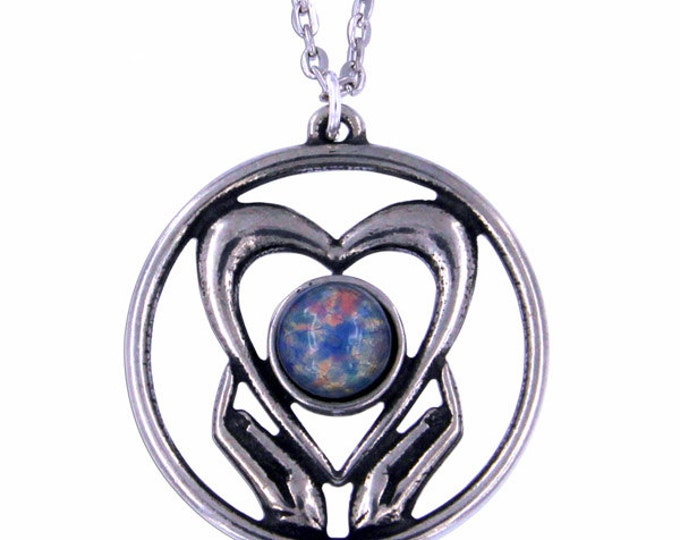 Opalised Holding onto love Pendant Necklace- Hand Made in UK