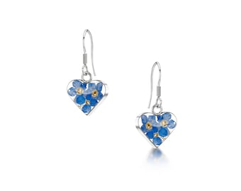 Sterling Earring Heart Silver Teardrop Earring -Forget- Me- Not- flowers -  Gift for Mother Day- Birthday- Valentine- Christmas