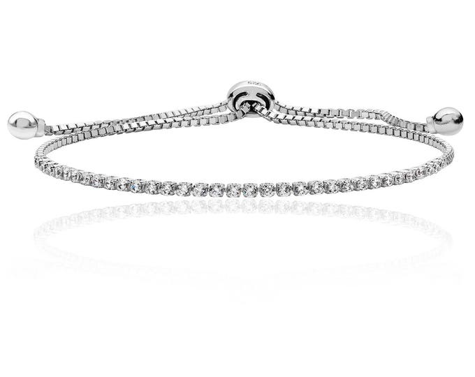 925 Silver Pull CZ Bracelet Fine Single Row Rhodium Plated