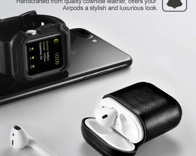 ICarer Apple AirPods Leather Case with Strap,Protective Shockproof Cover for Apple AirPods 1  & 2 Case Wirless Charging Case