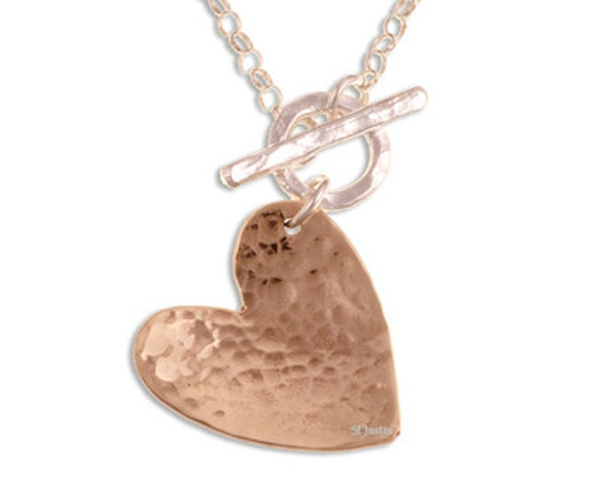 Hammered bronze heart on sterling silver belcher chain with front T-bar closure- Hand Made in UK