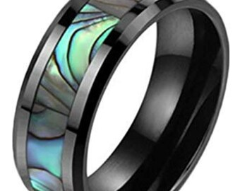 Personalised Abalone Shell Inlay Matt Black Finish Tungsten Carbide Ring Wedding Band 8mm -Comfort fit