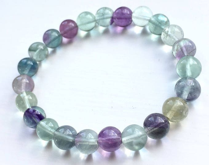 """Genuine Multi Colour Flourite Natural Gemstone 7""""- 7.5"""" Stretch Bracelet Available in 8 & 10 mm Round Beads-Unisex"""
